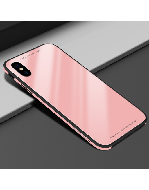 Tempered Glass Case - Iphone X/XS Hoesje - Roze