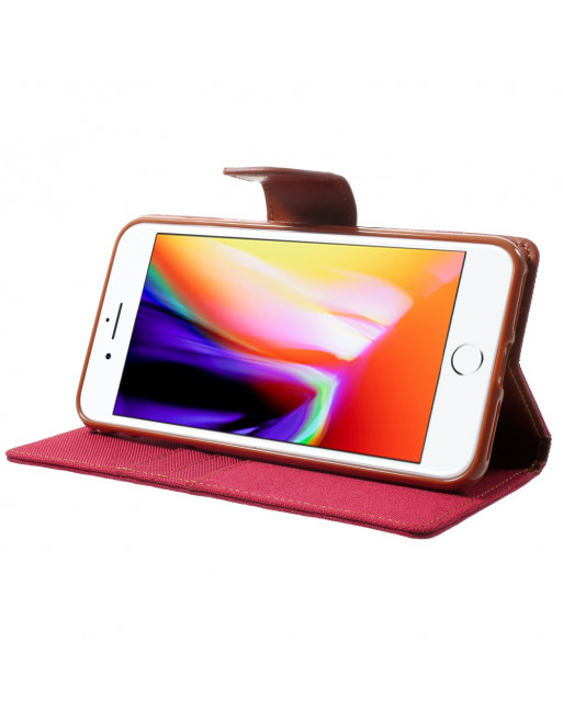 Canvas Diary iPhone Hoesje - iPhone 7/8Plus - Rood