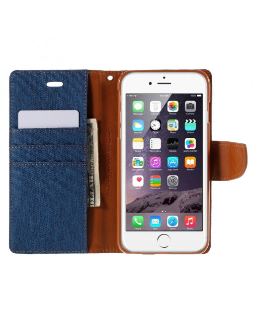 Canvas Diary Iphone Hoesje - Iphone 6/s Plus - Blue/camel