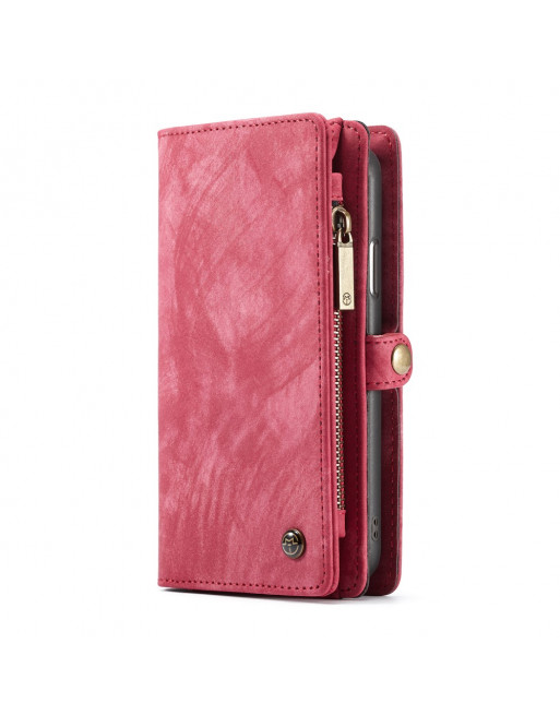 2 in 1 Leren Wallet + Case - iPhone XR - Rood