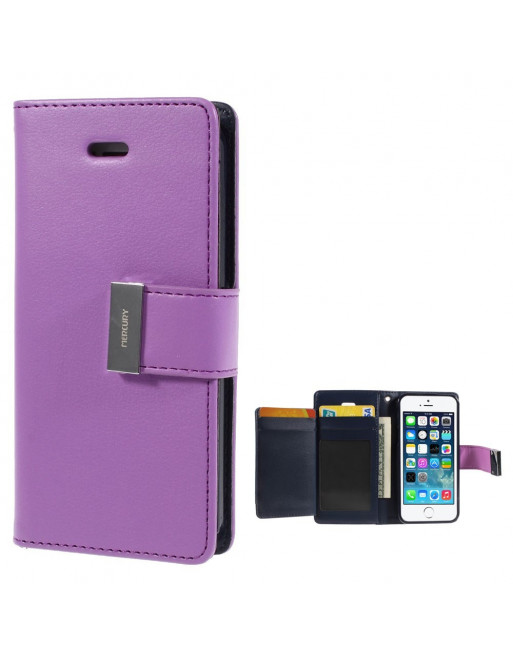 Leren Wallet case - Rich Diary - iPhone 5(s)/SE - Paars
