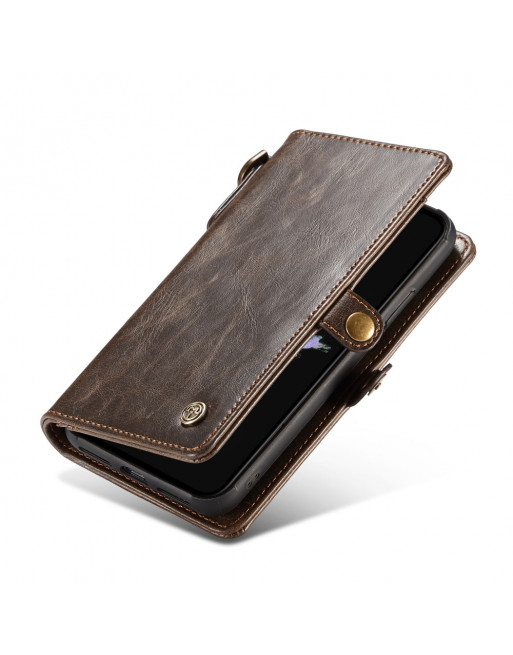 2 in 1 Leren Wallet + Case iPhone XR - Qin Series - Bruin