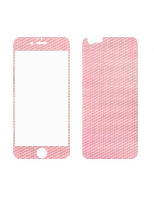 iPhone 6(s) 0,3mm Dubbelzijdig Glas Screenprotector - Roze Carbon