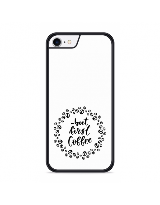 iPhone SE 2020 Hardcase hoesje But first coffee - transparant