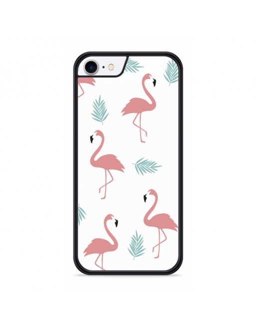 iPhone SE 2020 Hardcase hoesje Flamingo Patroon - transparant