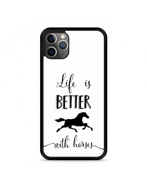 iPhone 11 Pro Hardcase hoesje Life is Better with Horses - transparant