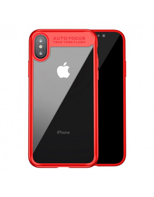Moderne hardcase iPhone X/XS - Glas/silicone - Transparant/rood