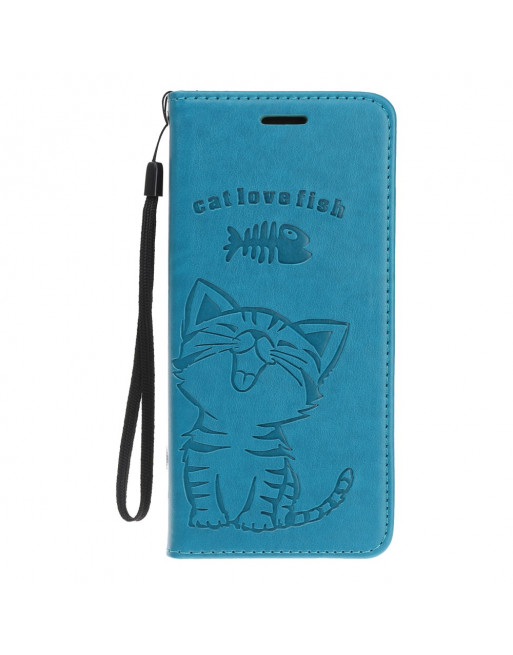 iPhone 11 pro max hoesje met koord - Cat love Fish - Blauw