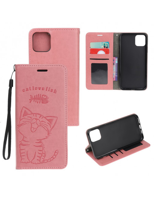 iPhone 11 Pro Max hoesje met koord - cat love fish - fel roze goud