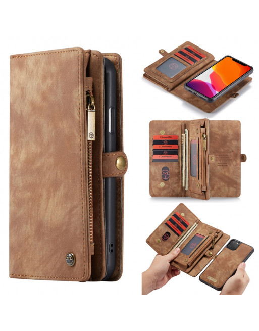 2 in 1 Leren Wallet + Case - iPhone 11 Pro Max 6.5 inch - Bruin