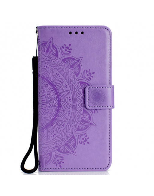 Leren Wallet Case - iPhone XR 6.1 inch - Mandala Patroon - Paars