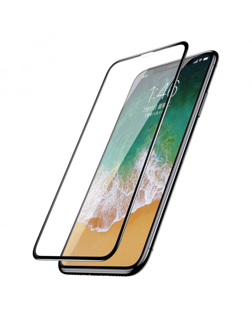 0.2mm 9H Full Size Curved Tempered Glass Screen Protector voor iPhone  XS / X 5.8 inch - zwart